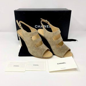 CHANEL  SUEDE CALFSKIN OPEN TOE SANDALS